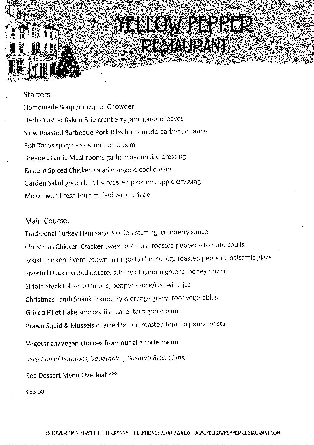The Yellow Pepper Restaurant Christmas Menu 2019-page-001